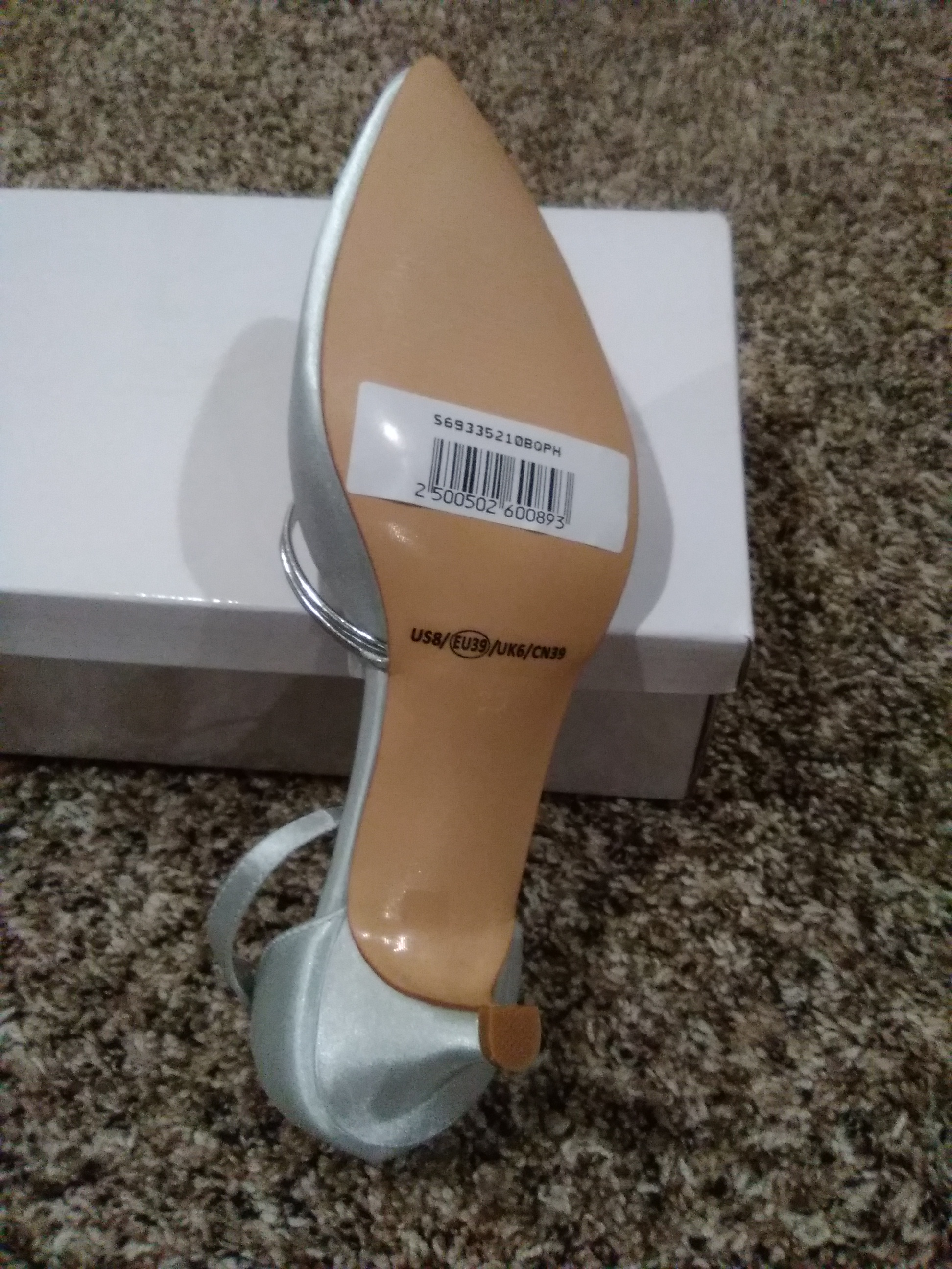 Silver Pointed Toe Satin Shoes