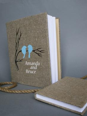 Wedding Rustic Old Style Photo Album Or Scrapbook Burlap Linen Bridal Shower Anniversary Blue Birds On Branch