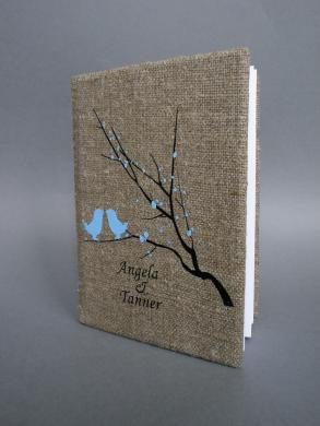 Wedding Rustic Old Style Photo Album Burlap Linen Bridal Shower Anniversary Light Blue Birds And Blossoms On Brunch