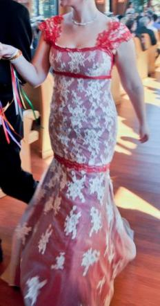 Lace Wedding Gown With Red Underlay And Trim