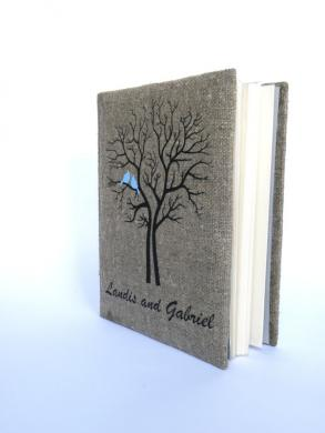 Wedding Rustic Photo Album Burlap Linen Bridal Shower Anniversary Blue Cardinals On The Tree