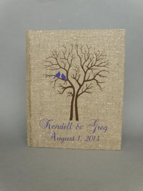 Wedding Rustic Old Style Photo Album Or Scrapbook Burlap Linen Bridal Shower Anniversary 50 Pages Purple Birds And Names And Black Tree