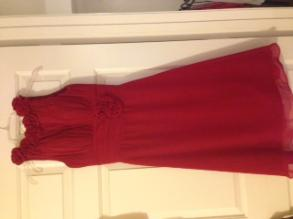 Ellis - Crimson Red Tea Length Dress With Rose Embellishments On Waist And Neckline
