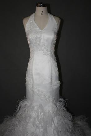 New Custom Made Halter Mermaid Fit N Flare Feathers Wedding Dress ...