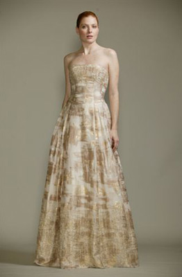 Cream And Gold Strapless Carmen Marc Valvo Gown