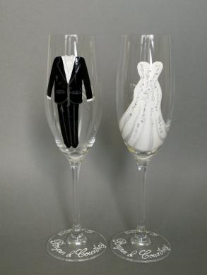 Hand Painted Wedding Toasting Flutes Set Of 2 Personalized Champagne Glasses Wedding Dress With Crystals And Suit