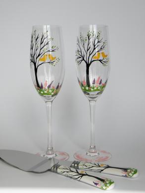 4 Pc Set Of Hand Painted Wedding Toasting Flutes And Cake Knives Yellow Birds And Colorful Flowers