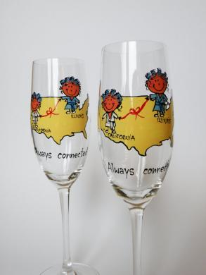 Hand Painted Wedding Toasting Flutes Set Of 2 Personalized Champagne Glasses Friendship From Different Places