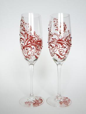 Hand Painted Wedding Toasting Flutes Set Of 2 Personalized Champagne Glasses Red Ornaments With Crystals