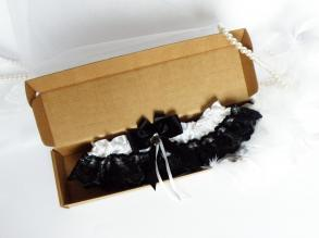 Wedding Bridal Garter With Black Color Lace And Crystal Embellishment And Black Bow