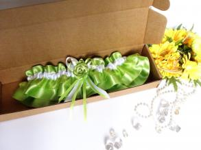 Wedding Bridal Garter With Lime Green Color Lace Embellishment And Flower, White Bow