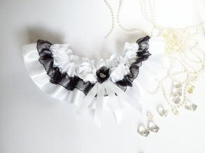 Wedding Bridal Garter With Black And White Ribbon And Flower
