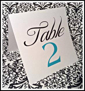 Tiffany Blue Black And White Tent Table Number