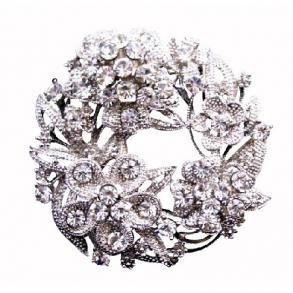 Round Bridal Dress Brooch With Tiny Round Flower Cz Decorated