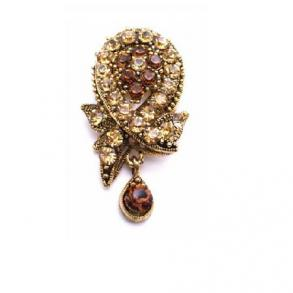 Smoked Topaz Colorado Crystals Filigree Vintage Antique Gold Brooch