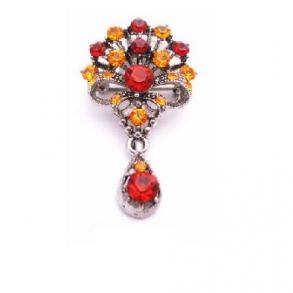 Bouquet Of Flowers With Dangling Teardrop Orange Siam Red Crystal Brooch