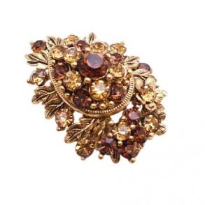 Wedding Christmas Cake Smoked Topaz Golden Shadow Crystals Brooch Gift