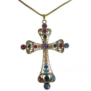 Vintage Multicolor Crystals Color Cross Pendant Gift Jewelry