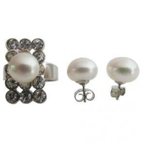 Classic Round Natural Freshwater Pearl Ring With Stud Earring