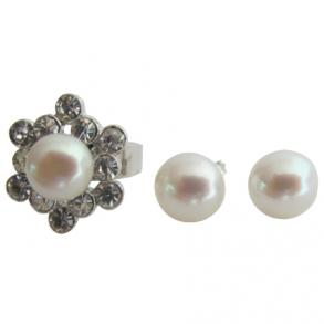 Sunflower Shape Ring With Freshwater Pearl Stud Earring
