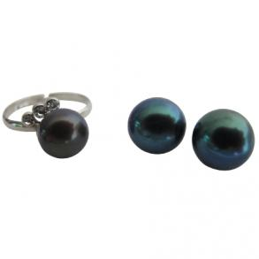 Adjustable Freshwater Pearl Ring With Stud Earring In Tahitian Color