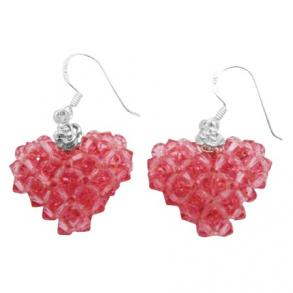Holiday Gift To Your Luv One Puffy Heart Genuine Rose Crystal Sterling Silver Earrings