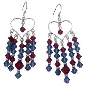 Swarovski Ruby Denim Crystals 92 5 Silver Chandelier