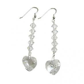 Clear Swarovski Heart Crystal Chandelier Earrings Genuine Swarovski & Sterling Silver 92.5 Hook Earrings