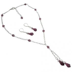 Mother's Gift Christmas Time Amethyst Teardrop Jewelry Set