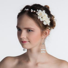 Floral Crown With Ivory Handmade Flowers