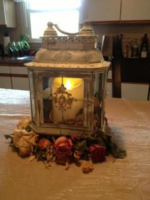 12 Wedding Lantern Centerpiece Vintage White Ivory & Gold