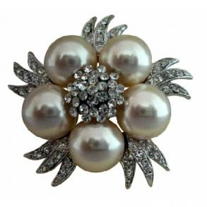 Bridal Simulated Diamond Crystals Pearls Vintage Brooch Pin