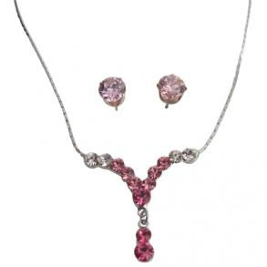 Y Shaped Bridal Pageant Dazzling Pink Crystal Necklace Earring Set