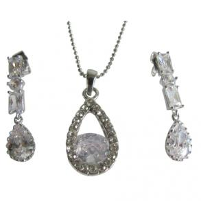 Silver Plated Rhinestone Teardrop Earrings & Necklace Set