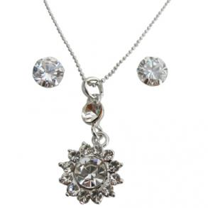Mother's Gift Sunflower Crystal Necklace Pendant W/ Stud Earrings