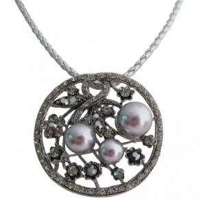 Sophisticated With This Enchanting Pendant Gray Pearls Black Diamond Crystals