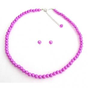 Purple Pearl Necklace With Stud Earrings Gorgeous Elegant Jewelry Set