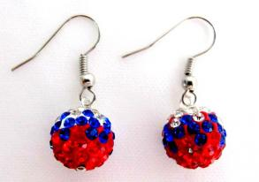 Independence Day Labor Day Military Memorial Day Usa Flag Color Pave Ball Earrings