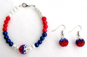 Day 4th Of July Patriotic Bracelet Military Mom Jewelry Red White Blue And Pave Ball