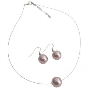 Traditional Inspired Wedding Collection Single Pink Pearl Necklcae Set