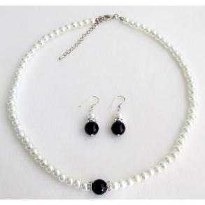 Special Pre Wedding Gift Flower Girl Bridesmaid White Black Pearl Jewelry Set