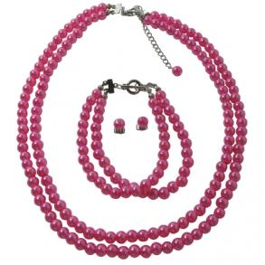 Affordable Fuchsia Pearls Jewelry Set Necklace Earrings & Bracelet