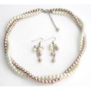 Fine Jewelry Set Bridesmaid In Ivory And Champagne Pearls Two Strands Twisted Necklacet
