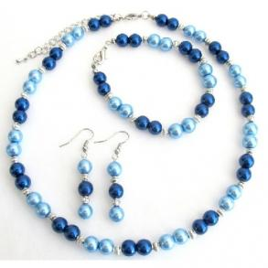 Lite Blue Dark Blue Pearl Jewelry Set With Silver Spacer Gorgeous Complete Wedding Set