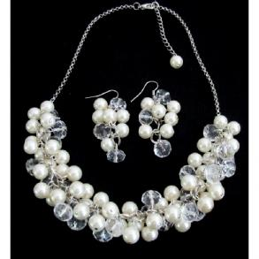 Clusters Of Ivory Pearls And Clear Crystals Elegant Bridal Jewelry