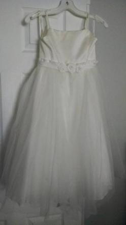 David's Bridal - Spaghetti Strap Tulle Tea Length Ivory Ball Gown