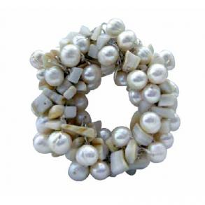 Handcrafted White Freshwater Pearls Bridal Or Bridesmaid Dress Brooch