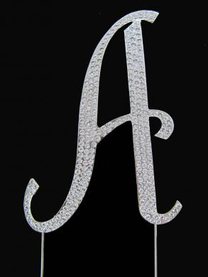 Crystal Rhinestone Covered Silver Monogram Wedding Cake Topper Letters A-z
