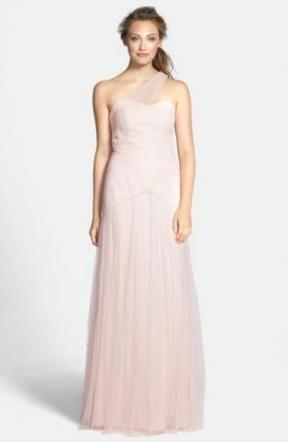 Pleated One-shoulder Tulle Trumpet Gown