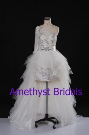 MAKE US AN OFFER Ready To Mail New Zuhair Murad Inspired Wedding/reception Peplum Dress High Lo Skirt Size 10 -12